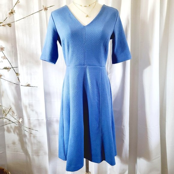 Ann Taylor Periwinkle Fit & Flare Mid Sleeve Dress